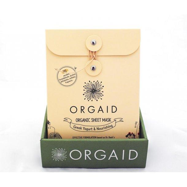 ORGAID borddisplay med 6 stk. 4-pak Greek Yogurt & Nourishing Organic Sheet Mask